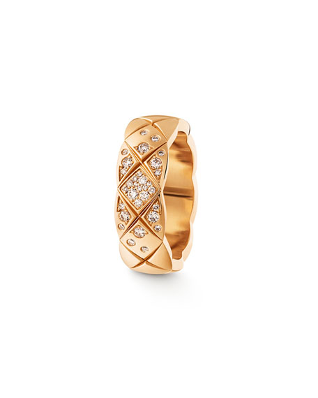 COCO CRUSH RING IN 18K BEIGE GOLD AND DIAMONDS, SMALL VERSION.