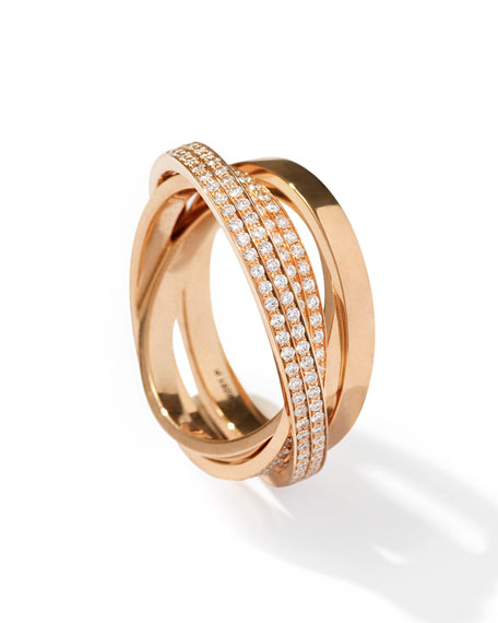 Technical Berbère Diamond Ring in 18K Rose Gold