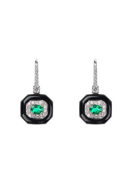 Oui 18k White Gold Black Enamel, Emerald & Diamond Drop Earrings