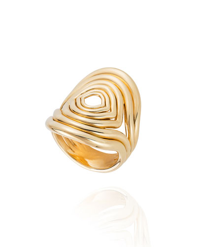 Rounded Lines 18k Gold Ring  Size 8