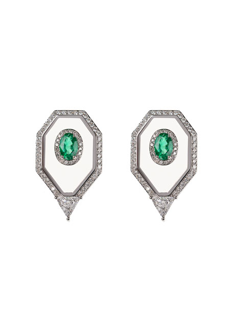 Universe 18k White Gold Emerald Oval, Enamel & Diamond Pave Earrings