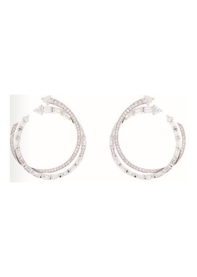 Energy 18k White Gold Diamond Hoop Earrings