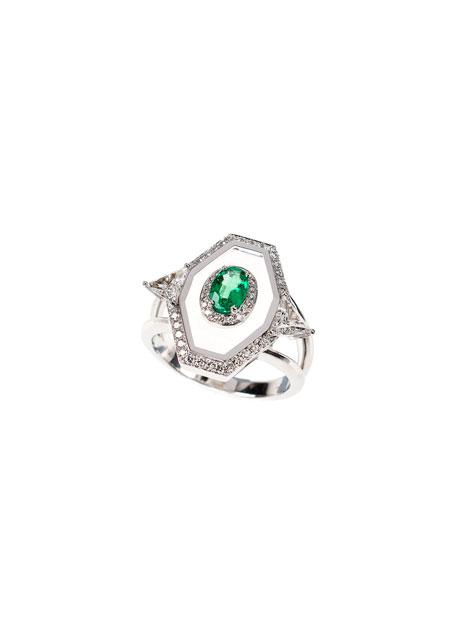 Universe 18k White Gold Oval Emerald, Diamond & Enamel Ring