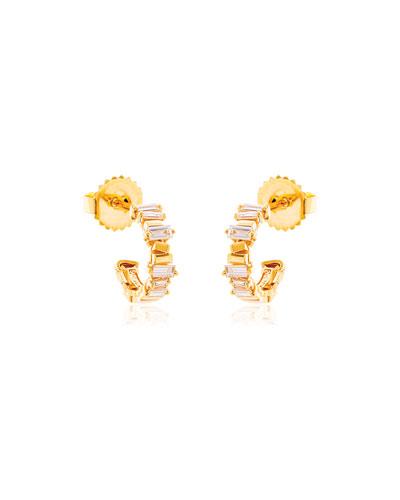 18k Yellow Gold Diamond Baguette Hoop Earrings