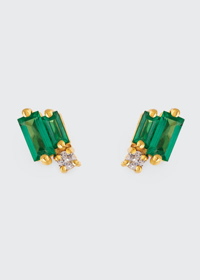 18k Yellow Gold Diamond & Emerald Stud Earrings