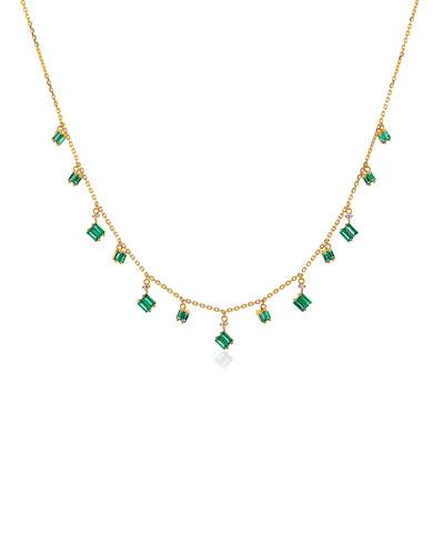 18k Yellow Gold Diamond & Emerald Dangle Necklace
