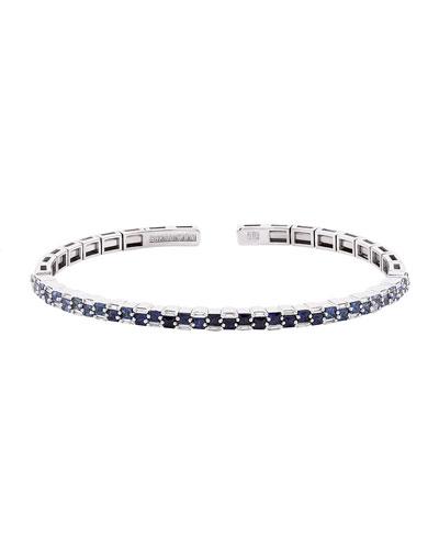18k White Gold Ombre Blue Sapphire & Diamond Bangle  Size Medium