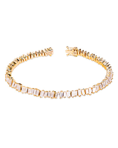 18k Yellow Gold Diamond Baguette Tennis Bracelet