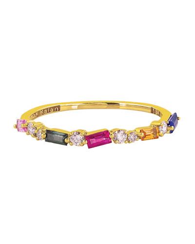18k Rainbow Sapphire & Diamond Ring  Size 6  6.5  & 7