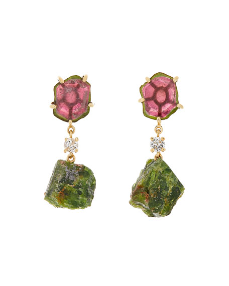 18k Bespoke 2-Tier Tribal Luxury Earrings w/ Watermelon Tourmaline, Diamond, & Tsavorite
