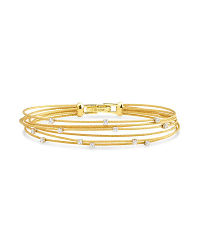 Seven-Strand Cable Wire Bracelet with Diamonds