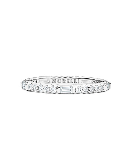 Pinpoint 18k White Gold Baguette Diamond Ring
