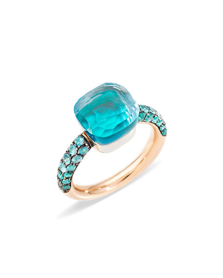 NUDO 18k Rose Gold & White Gold Topaz/Agate Ring