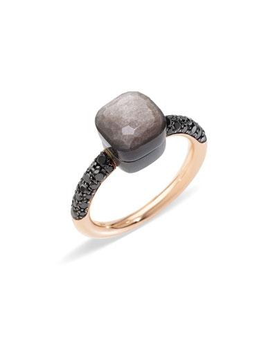 NUDO 18k Gold/Titanium Petite Obsidian & Black Diamond Ring
