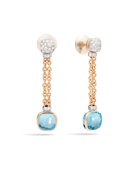 Nudo 18K Sky Blue Topaz & Diamond Drop Earrings