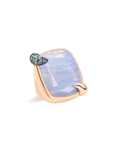 18k Rose Gold Chalcedony & Aquamarine Ring