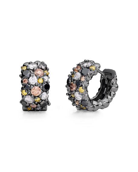 Confetti 18k Black Gold Diamond Snap Hoop Earrings, Large