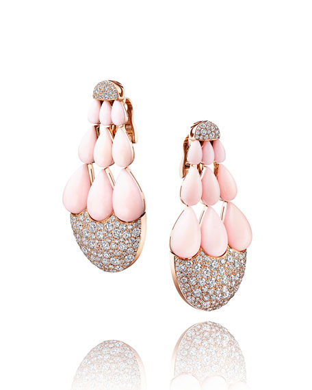 India 18k Rose Gold Earrings w/ Opal & Diamonds