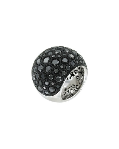 Boule 18k White Gold Ring w/ Black Diamonds