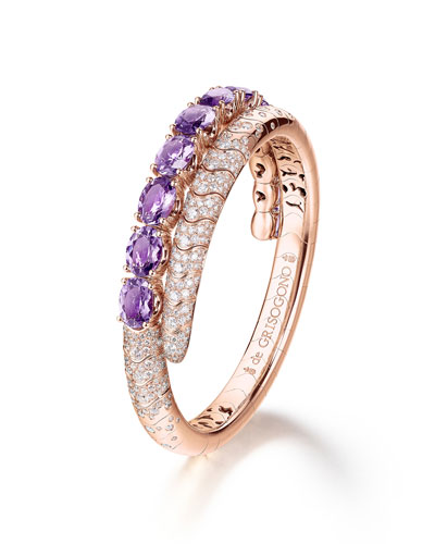 Doppia 18k Rose Gold Bracelet w/ Amethyst & Diamonds