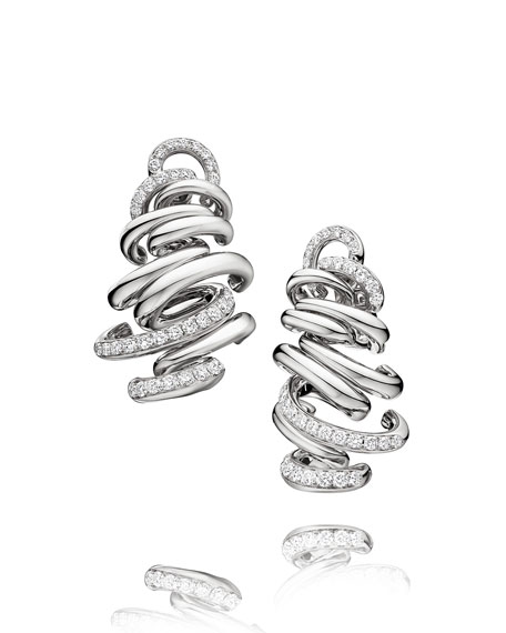 Vortice 18k White Gold Earrings w/ Diamonds