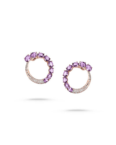 Doppia 18k Rose Gold Earrings w/ Amethyst & Diamonds