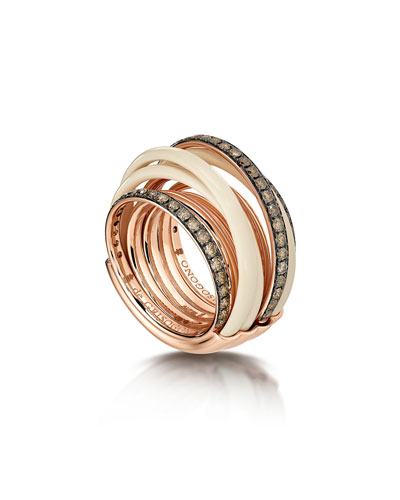 Allegra 18k Rose Gold & Ceramic Ring w/ Diamonds