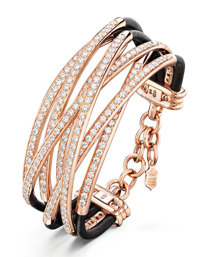 Allegra 18k Rose Gold & Leather Diamond Overlap Bracelet