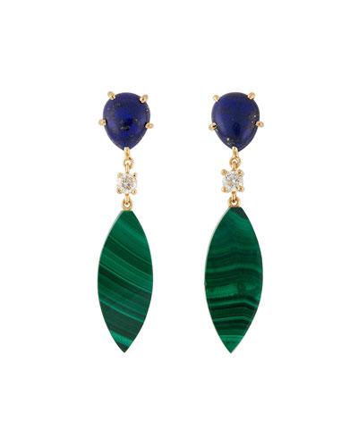 18K Bespoke 2-Tier Tribal Luxury Earrings w/ Lapis, Malachite & Diamonds