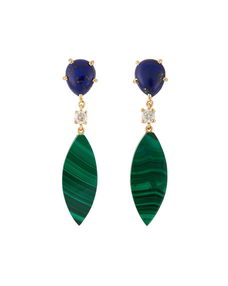 18K Bespoke 2-Tier Tribal Luxury Earrings w/ Lapis, Malachite & Diamonds