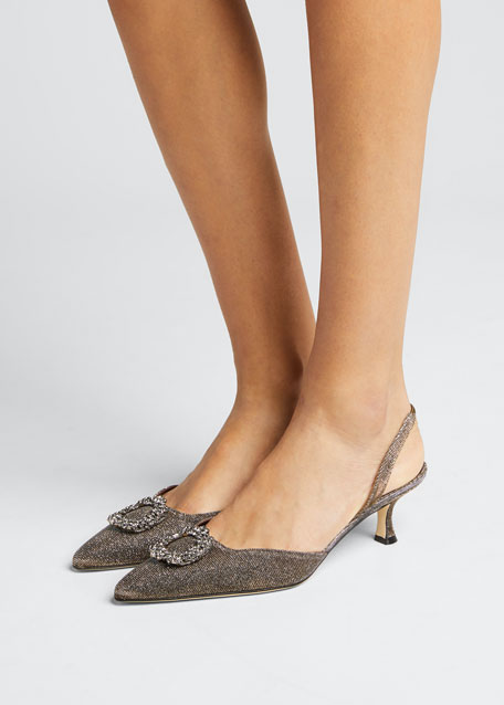 Astis Embellished Metallic Fabric Slingback