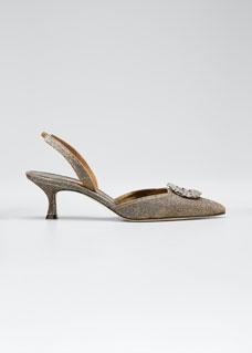 Astis Embellished Metallic Fabric Slingback by Manolo Blahnik