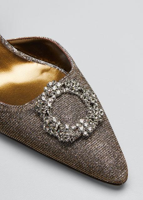 Astis Embellished Metallic Fabric Slingback
