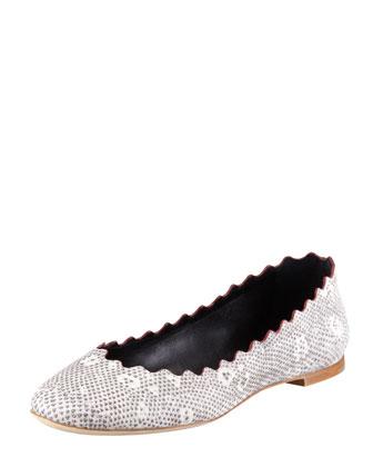 Chloe Snake-Print Scalloped Ballerina Flat
