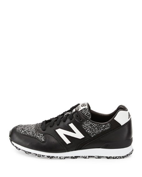 696 Metallic Detailed Leather Trainer, Black/White