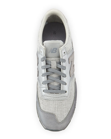 620 Suede & Woven Trainer, Gray
