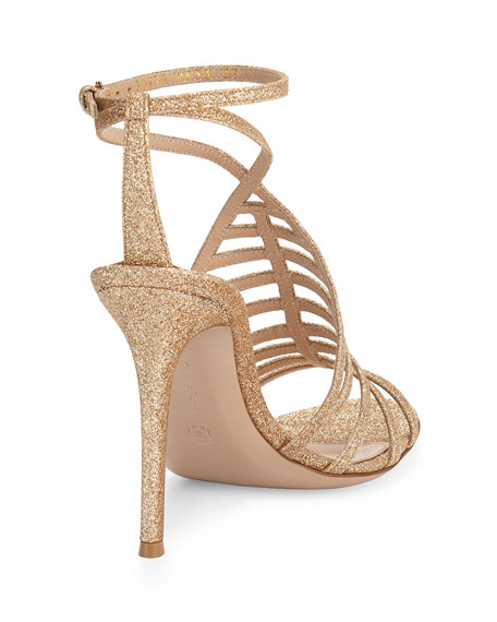 Glitter T-Strap Caged Sandal, Nude