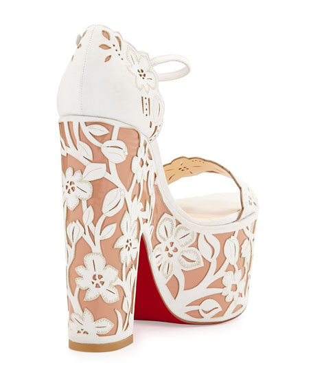 e77638316df Houghton Floral Wedge Red Sole Sandal White