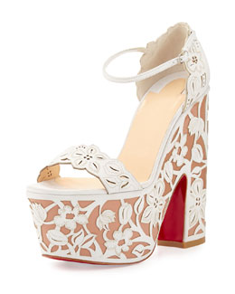 Houghton Floral Wedge Red Sole Sandal, White