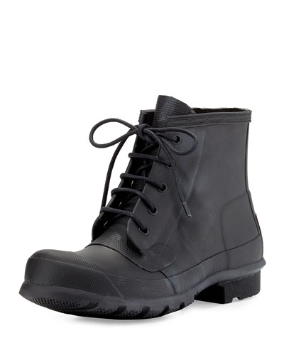 Original Lace-Up Short Rainboot, Black