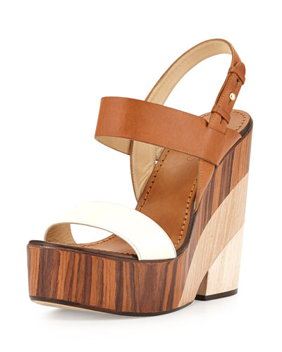 Notion Tricolor Wooden Wedge Sandal, White/Caramel