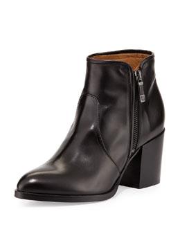 Ferrara Almond-Toe Leather Bootie