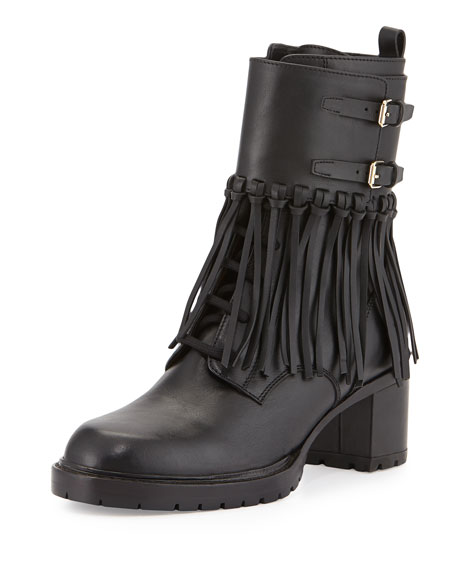 valentino leather fringe combat boot black