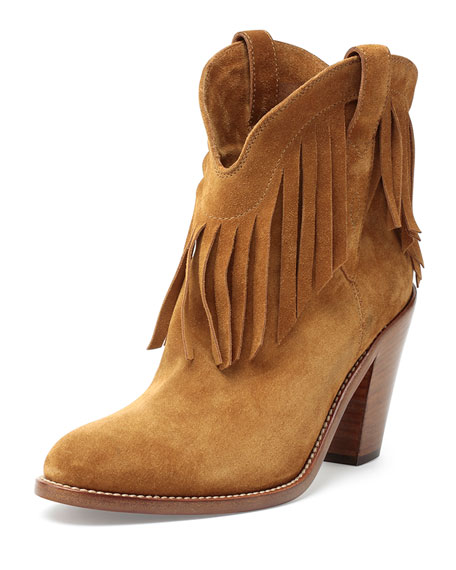 Saint Laurent Suede Fringe Booties fashion Style sale online sale recommend high quality for sale xHmCpqQm4P