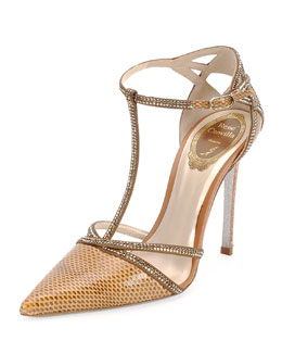 Strass Crystal Python T-Strap Sandal