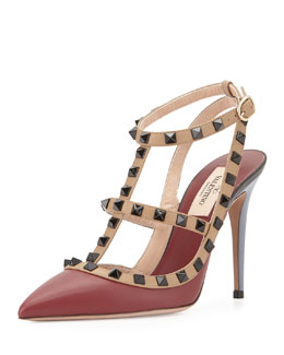 Lacquered Rockstud Leather Pump