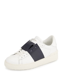 Rockstud Two-Tone Open-Laced Sneaker, White/Navy