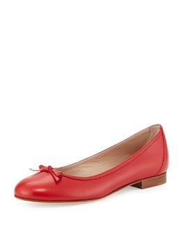 Prep Bow-Detailed Leather Ballerina Flat