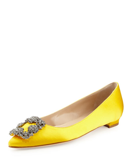 Hangisi Crystal-Buckle Satin Flat, Yellow