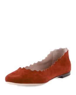 Scalloped Suede Ballerina Flat, Sienna